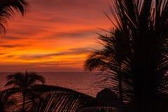 Beau coucher du soleil orange Photos stock