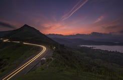 Beau coucher du soleil près de Satara Photos stock