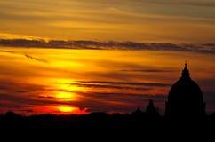 Beau coucher du soleil romain Photos libres de droits