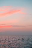 Beau coucher du soleil rose tropical Image stock