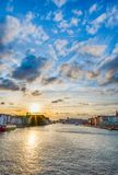 Beau coucher du soleil Vue de la passerelle Copenhague, Danemark photo stock