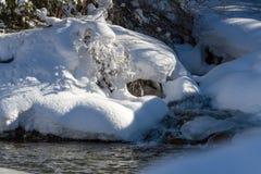 Beau courant de montagne en hiver photos stock