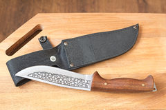 Beau couteau de chasse et une caisse pour le couteau. Photographie stock libre de droits