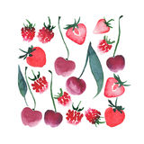 Beau croquis de main d'aquarelle de fraise de framboise de cerise de baies Photos libres de droits