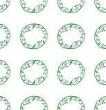 Beau croquis de main d'aquarelle de modèle de cercle d'herbe Photo libre de droits