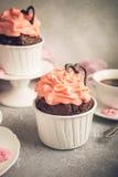 Beau cupecake de chocolat avec le coeur Photographie stock