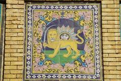 Beau détail de l'édifice du Sun du palais de Golestan, Iran photos libres de droits
