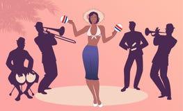Beau danseur jouant des maracas et quatre musiciens latins jouant les bongos, la trompette, les claves et le trombone illustration libre de droits