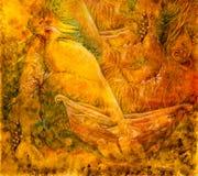 Beau dessin d'imagination d'oiseaux d'or féeriques et un bateau Photos stock