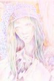 Beau dessin d'imagination d'une reine féerique de forêt de femme Image stock