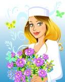 Beau docteur de femme avec des fleurs Image stock
