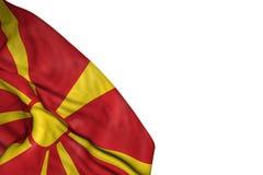 Beau drapeau de Macédoine avec de grands plis étendus dans en bas à gauche le coin d'isolement sur blanc - toute illustration du  illustration libre de droits