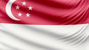 Beau drapeau réaliste 4k de Singapour banque de vidéos
