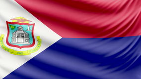 Beau drapeau réaliste 4k de Sint Maarten clips vidéos