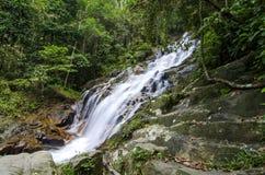 Beau en nature, cascade tropicale de cascade stupéfiante roche humide et moussue, image libre de droits