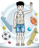 Beau enfant mignon de petit gar?on se tenant dans des v?tements sport ?l?gants Illustration d'enfant de vecteur illustration libre de droits