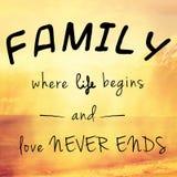 Beau et inspirant message au sujet de famille Image stock