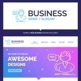 Beau FAQ de marque de concept d'affaires, aide, appel, escroquerie illustration stock