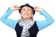 Beau femme aîné avec le chapeau Images libres de droits