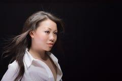 Beau femme asiatique dans le blanc Images libres de droits