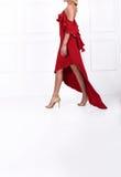 Beau femme aux cheveux longs dans la robe rouge Image stock
