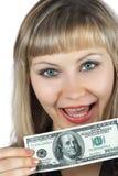 Beau femme avec cents billets de banque du dollar Image libre de droits