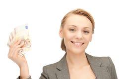 Beau femme avec de l'euro argent d'argent comptant Images stock