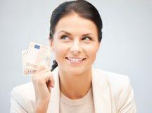 Beau femme avec de l'euro argent d'argent comptant Photo libre de droits