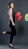 Beau femme avec des ballons Photos libres de droits