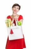 Beau femme avec des cadeaux de Noël Image stock