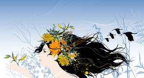 Beau femme avec des fleurs illustration libre de droits