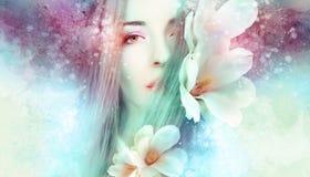 Beau femme avec des fleurs de source image stock
