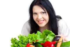 Beau femme avec des légumes Photographie stock