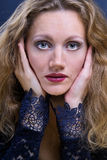 Beau femme avec des mains Photographie stock libre de droits