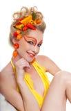 Beau femme avec des poivrons Photographie stock libre de droits