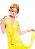 Beau femme avec des poivrons Image libre de droits