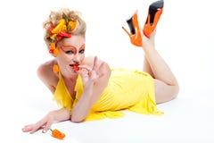 Beau femme avec des poivrons Photo stock