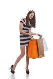 Beau femme avec des sacs à provisions Photos stock