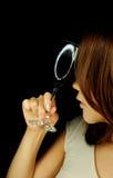 Beau femme avec la glace de vin Photo libre de droits
