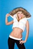 Beau femme avec le col roulé de l'hiver photos stock