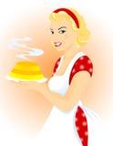 Beau femme avec le gâteau Illustration de Vecteur