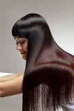 Beau femme avec le long cheveu sain Image stock