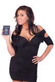 Beau femme avec le passeport américain Photographie stock libre de droits