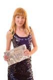 Beau femme avec le sac à main Images libres de droits