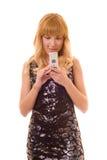 Beau femme avec le téléphone Photographie stock libre de droits