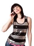 Beau femme avec le téléphone Image stock