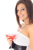Beau femme avec un côté de cocktail photo stock