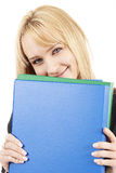 Beau femme blond retenant quelques fichiers photo stock