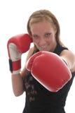 Beau femme d'affaires dans les gants de boxe 6c Photos stock