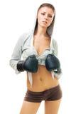 Beau femme dans des gants de boxe photo libre de droits